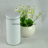 Kundenspezifischer weißer runder Tee-verpackenkasten, Tee-Zinn-Kasten, Tee-Kanister