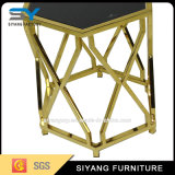 Table hexagonale en acier inoxydable avec verre givré