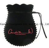 Sacchetto nero su ordinazione promozionale del velluto del Drawstring di modo piccolo