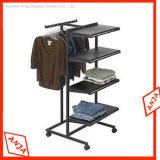 Rack de Exibição de roupas de retalho de metal com suporte