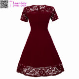 Sexy Vintage Summer Lace Round Neck Short Sleeve Princess A Line Robe à thé L36173-1