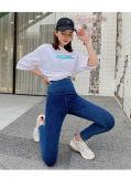 Exercício de elevação do quadril azul denim Perneiras circunferência de cintura elevada calças de ioga apertado com elevada elasticidade e respirável