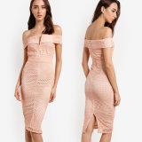 Выключение плечо шее розовый кружевной V Bardot MIDI платья