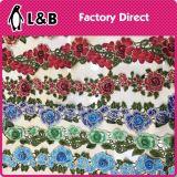 꽃 수를 놓은 착색된 손질 레이스