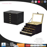 Grandes Joyas de cuero negro de lujo de almacenamiento de embalaje Expositor (8843)