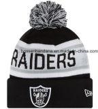 工場農産物はロゴの黒いジャカード冬によって編まれた帽子の帽子をカスタマイズした