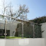 Moderno diseño interior de la barandilla de Escalera de acero inoxidable barandilla de vidrio templado