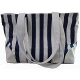면 직물 상단 손잡이 여자 줄무늬 화포 바닷가 끈달린 가방