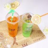O logotipo personalizado bebida fria descartáveis de plástico PET copo de sumo de 16oz