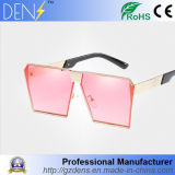 Superfície superior plana Square óculos de sol óculos de lente espelhada de Metal