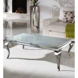 Tapa de cristal modernos de acero inoxidable cromado mesa de café para Salón