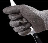 Серый PU Hppe покрыл перчатку работы безопасности уровня 5 отрезока упорную