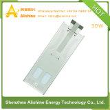 LED 30W de luz solar calle con el diseño integrado