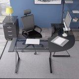 현대 까만 Temperedglass 및 강철 컴퓨터 책상