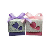 사랑 심혼 리본을%s 가진 신부 결혼식 자주색 사탕 선물 상자