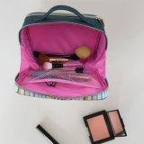 De hete Verkopende Zak van de Make-up van pvc van de Streep met 2 Compartimenten Dame Handbag