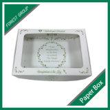 Caixa de empacotamento de papel do alimento branco com indicador desobstruído