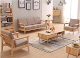 Estilo escandinavo todo o do tamanho de madeira do tamanho da combinação do sofá das telas da madeira contínua da cinza sofá simples japonês do frame da madeira contínua