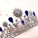 A nova Suite Crown Blue Crystal Casamento Rhinestone Acessórios de cabelo Suite Tiaras jóias de cabelo Headpiece Queen