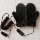 Mens реального меховые рукавицы/Детский мех Red Hat/шерсти из жаккардовой ткани с Glovs мех