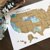 El Rastreador de viaje Mapa del mundo Poster territorio original rasque Mapa