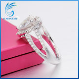 배 모양 화려한 커트 교전을%s 백색 Moissanite 다이아몬드 형식 반지