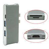 6 em 1 dual 2 USB 3.1 Tipo C PORTA DE CARGA + 4K adaptador HDMI + 2 portas USB 3.0 + Micro SD/Cubo do leitor de cartão SD para Novos MacBook