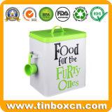 De rechthoekige Emmer van het Metaal van het Tin met Lepel voor De Verpakking van het Voedsel voor huisdieren