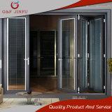 Serie 75 de aleación de aluminio puerta plegable con doble cristal y persianas