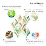Оптовая продажа конструкции листьев плитки мозаики зеленого стекла для пола ванной комнаты