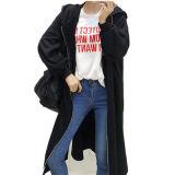 cappotto lungo incappucciato di stile del maglione 100%Cotton con la chiusura lampo piena