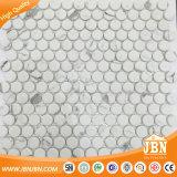 Azulejo de mosaico de cristal de la inyección de tinta blanca redonda del jazz de Calacatta (V620001)