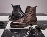 Brown de la dentelle jusqu'à la cheville bottes bottes plates occasionnel Mens