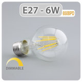A60 4W regulable bombilla LED filamento con base E27