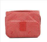 Bolso cosmético de la caída del organizador del artículo de tocador del bolso de Luckiplus con diseño del color de rosa del leopardo del gancho de leva