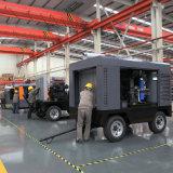 Compresseur d'air portatif de vis de souffle à deux étages de sable de Changhaï 200 Cfm sur le pneu de roues
