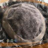 Menschenhaar-gemischtes graues Haarmens-Haar-Stück (PPG-l-0572)