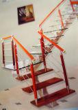 Лестницы нержавеющей стали самомоднейшей конструкции крытые с конструкцией поручня дуба твердой деревянной с цветом картины