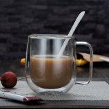 250ml 8ozの再使用可能な二重壁のハンドルが付いているガラスオフィスのコーヒーカップ