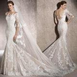 3/4 de laço dos vestidos nupciais das luvas Appliques o vestido de casamento 2018 Lb1901