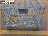 Falten und stapelbarer Stahlmaschendraht-Speicher-Korb mit Fußrollen