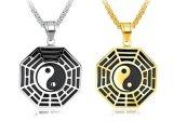 Ba Gua Acht van Yang van Yin Kleur van de Halsband van de Charme van het Roestvrij staal van de Mensen van de Halsbanden van de Tegenhanger van de Amulet Trigrams de Gelukkige Zilveren/Gouden