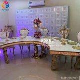 Mordenの食堂の家具の大理石の上のステンレス鋼のダイニングテーブルHly-St14