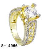 Un anello delle 925 di cerimonia nuziale 14k donne placcate oro d'argento dell'anello