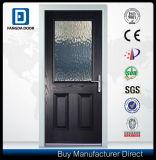 Porte d'entrée en verre à double porte en fibre de verre décorative