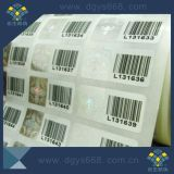 Numéros en cours d'exécution et autocollant laser à codes à barres