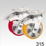 Roter PU-Rad-Schwenker mit doppelter Verriegelungsplatten-Oberseite-Fußrolle