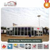 30mの直径ガラス築壁および屋根のライニングが付いているアルミニウムフレームのマルチ側面のテント