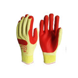 Blanchir les gants en caoutchouc stratifiés d'orange de gants de latex enduits par doublure blanche de Polycotton