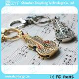 El llavero del violín Forma Rhinestone joyería USB Pen Drive (ZYF1904)